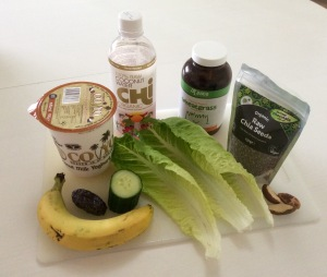 Ingredients for Pink Coconut Green Smoothie