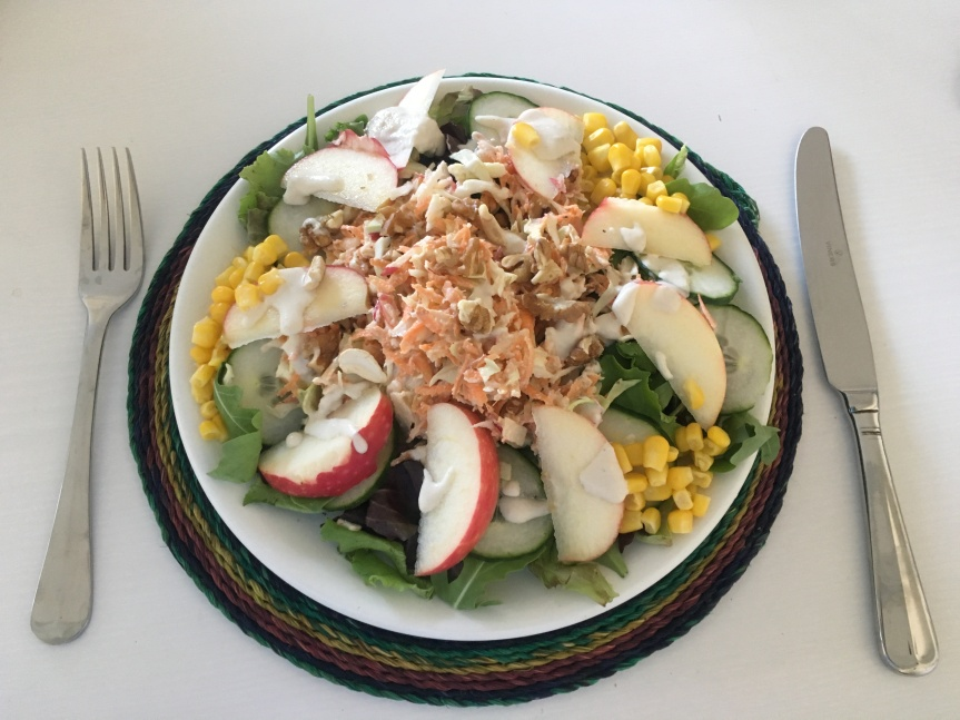 Rocket (Arugula) Salad with Sweetcorn, Walnut Slaw, Crisp Red Apple & Lemon Tahini Dressing