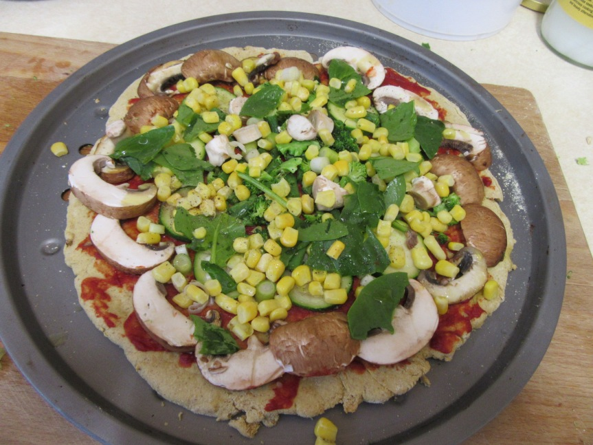 Quick (no yeast) Vegan, Gluten-free Midweek Pizza