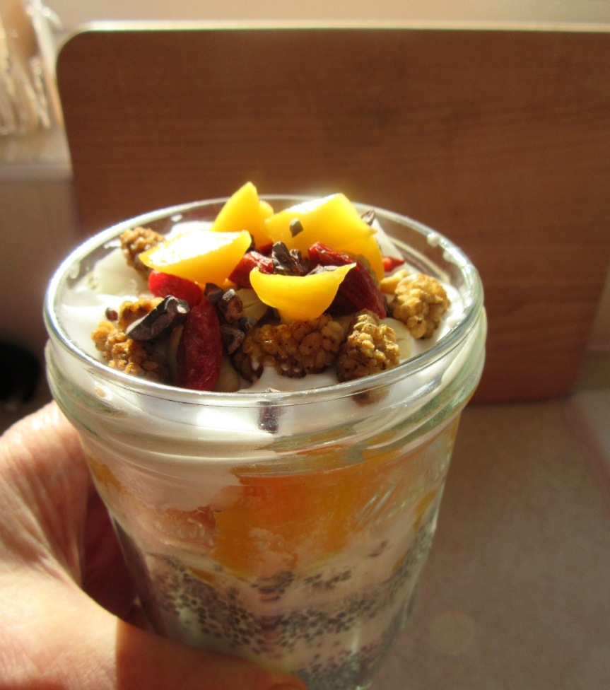 Monday Meditation: Mango Chia Pudding or Sunshine in a Jar – no blender required (plus hidden smoothie recipe)
